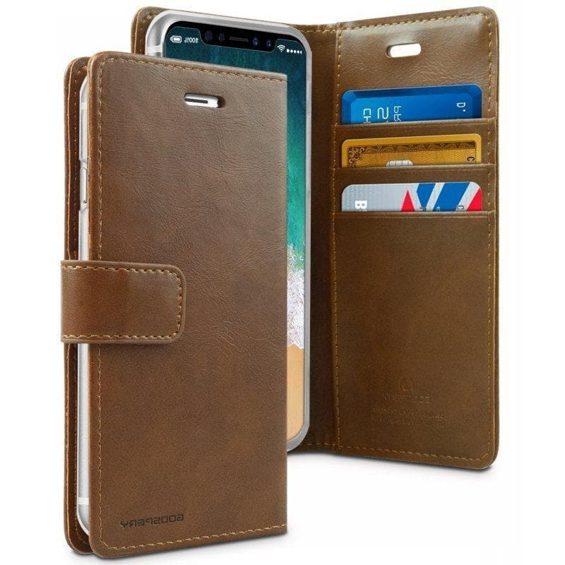 Mercury Blue Moon Diary Case for iPhone XS Max - Brown open