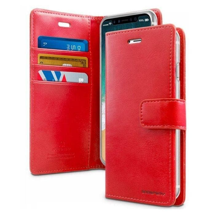 Mercury Blue Moon Diary Case for iPhone XXS - Red