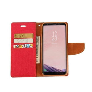 Mercury Canvas Diary Case for Samsung Galaxy S8 Plus - Red open