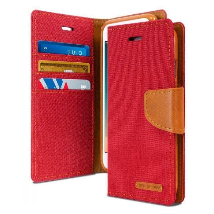 Mercury Canvas Diary Case for iPhone 78 Plus - Red