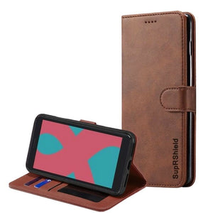 Wallet case for Optus X Start-Brown
