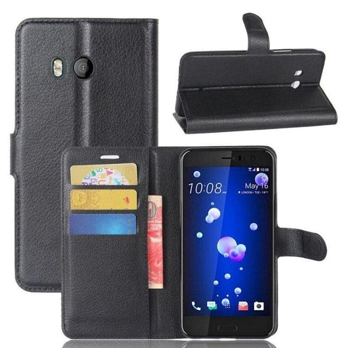 WALLET CASE FOR HTC U11 black open