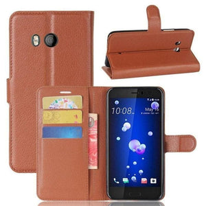 WALLET CASE FOR HTC U11 brown open