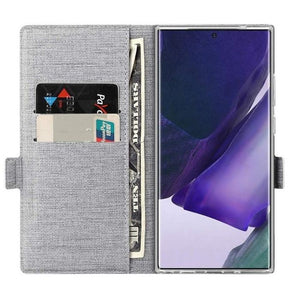 Wallet Case for Galaxy Note20 Ultra-Grey open