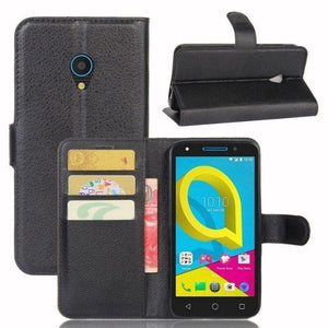 Wallet Case for Alcatel U5 - Black open