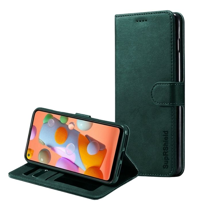 Wallet case for Galaxy A11-Green