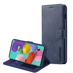 Wallet case for Galaxy A71-Navy