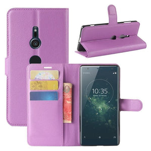 Wallet Case for Sony Xperia XA purple open
