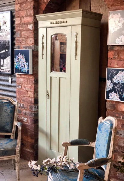 Handprinted, duck egg blue green vintage hall cupboard. Lichfield. Original mirror in door. Hanging hooks inside.