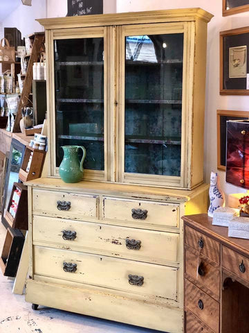 Vintage painted display cabinet with drawers - Milk Painted