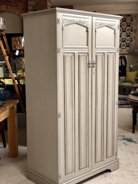 SOLD Gentleman's wardrobe, vintage Linenfold design, glazed cubbies and labelled shelves inside, hanging rail, hand painted professionally in Fusion Mineral Paint in Putty, with an Ash glaze. Soft taupe, cream, beige
