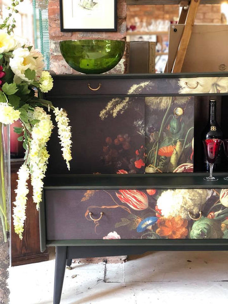 RESERVED FOR DONNA - Original G Plan sideboard/drinks cabinet, hand painted with floral design