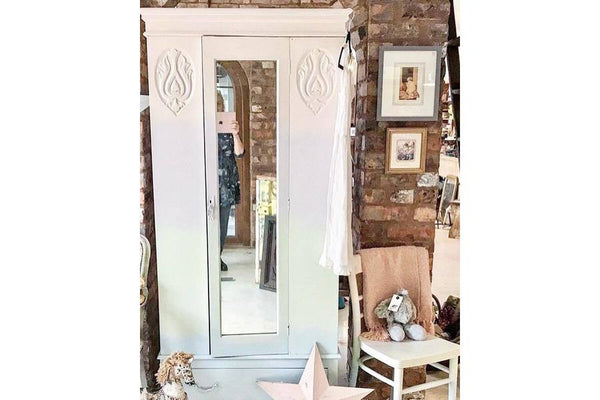 Hand painted Art Deco small single wardrobe. Glazed door. Painted in an ombre finish in pink, lilac, green and blue. Pearly finish. Comes with matching vintage chair. Interior hooks. Inside polished.