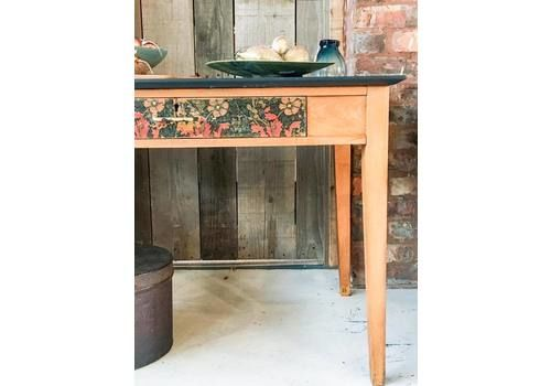 Vintage teacher's desk. Hand painted in Navy milk paint on top, legs and frame left bare and waxed/ William Morris detailing added to drawers and panels. Floral design. Distressed gold leaf added to drawer handle and flower centres.