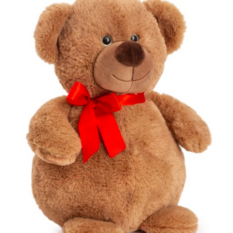 Valentine bear with red ribbon 30cm