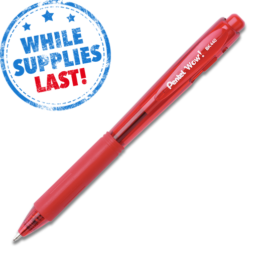 Wow! Retractable Ballpoint Pen (Medium) - Red Barrel