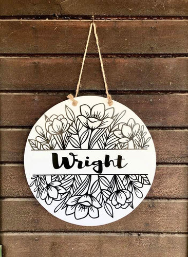 Custom Sign/ Front Door Wreath (Custom Name or Message)