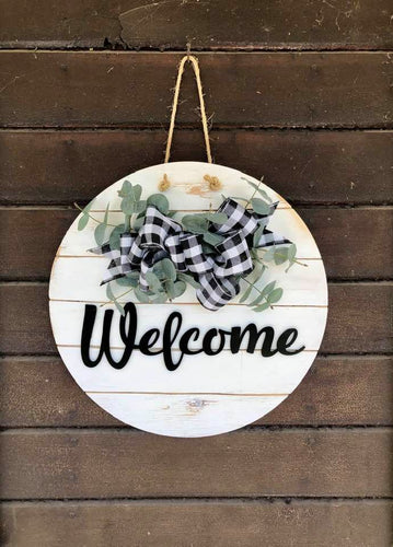 Welcome Sign/Front Door Wreath W/ Buffalo Check Ribbon