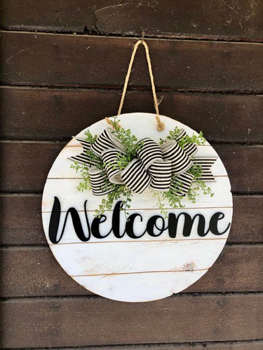 Welcome Sign/Front Door Wreath W/ Striped Ribbon