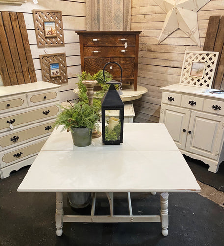 White Double Drop Leaf Table