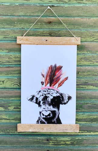 Cow With Feathers Print