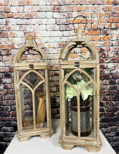 Set of Tall Arched Wood Lanterns