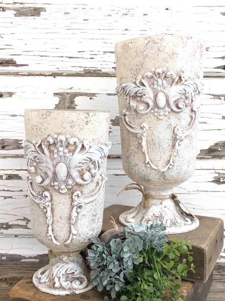 Cream and White Candle or Flower Holders