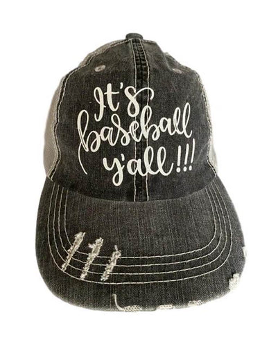 It's Baseball Y'all - Distressed Women's Trucker Hat SKU#095106