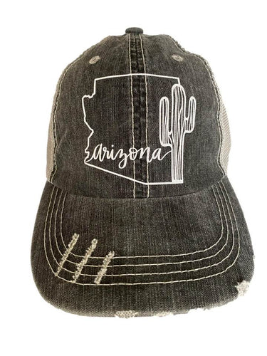 Distressed Women's Trucker Hat Arizona