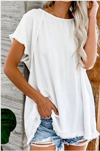 Coming Soon! White Frayed Edge Top