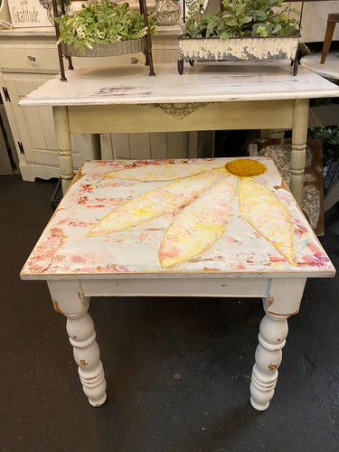 Hand Painted Floral on End Table