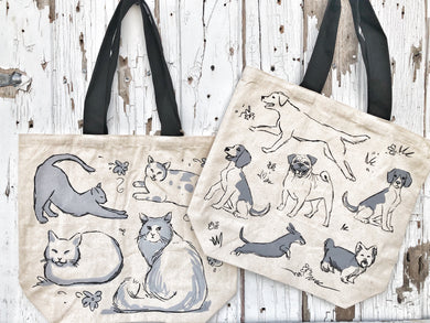 Cats and Dogs Canvas Tote Bag SKU #802135