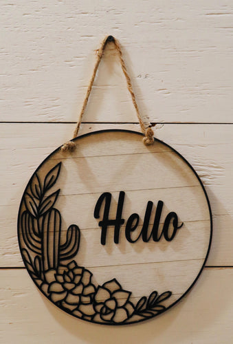 Handmade Black And White Plant Hello Sign SKU:865503