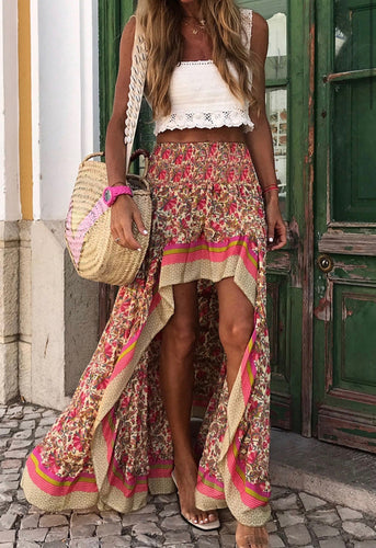 Hi-Lo Floral Skirt-2 Colors
