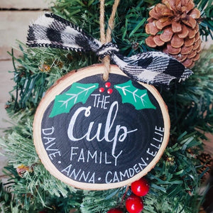 Custom Natural Wood Rounds Family Ornament