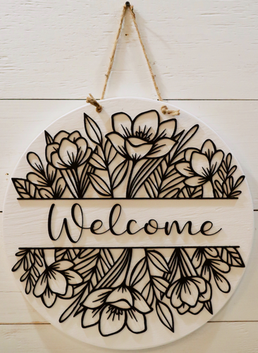 Handmade Black And White Flower Welcome Sign