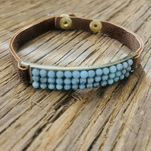 Load image into Gallery viewer, Skinny Leather Cuff With Turquoise Beaded Bar