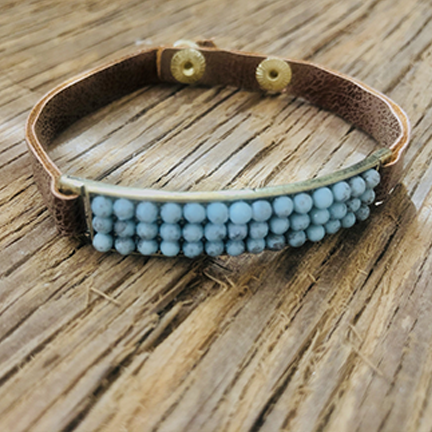 Skinny Leather Cuff With Turquoise Beaded Bar