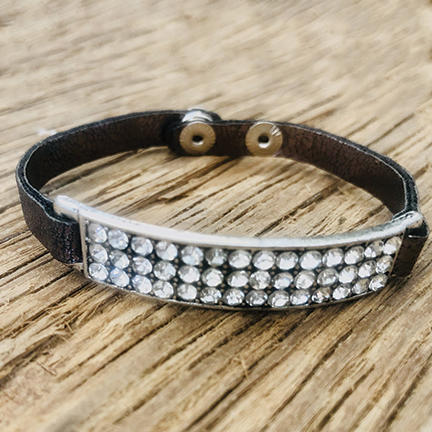 skinny Leather Cuff With Rhinestone Bar. 2 colors