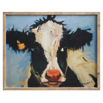 Wood Framed Canvas Cow Wall Decor SKU#414112AT