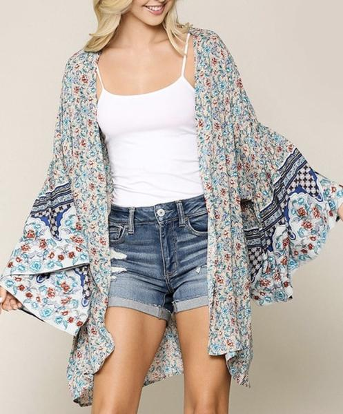 Floral Butterfly Sleeve Kimono