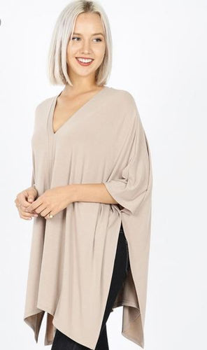 V Neck Poncho Top-Additional Colors Available