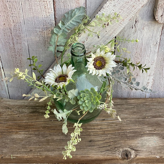 White Sunflowers & Succlents Wreath/Candle Ring