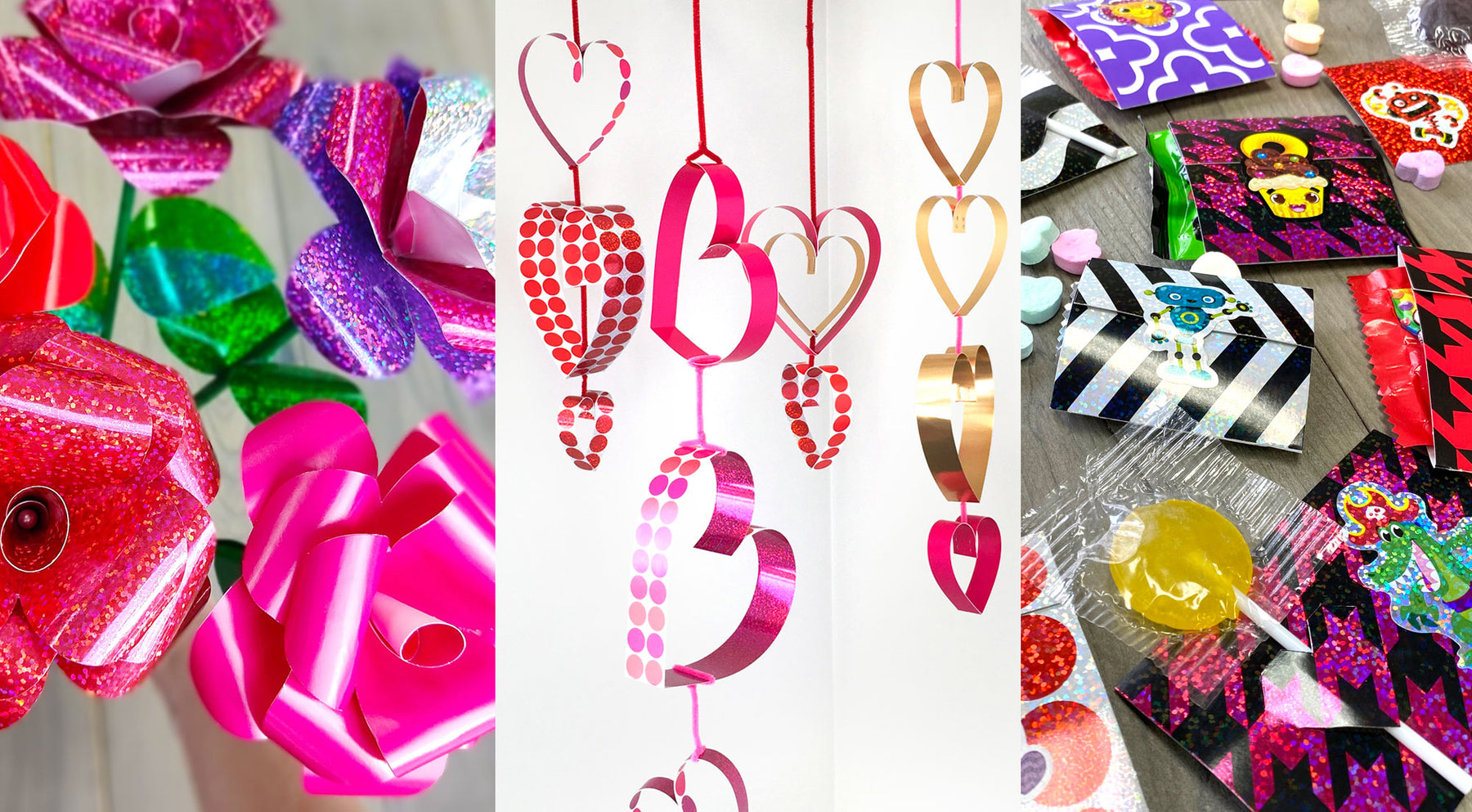 Valentine's Day DIYs to Love! Party Decorations, Candy Holders, Bulletin Board, 18 Fun Message Ideas & More