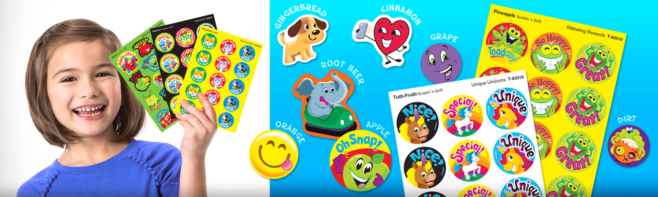 Scratch 'n sniff Stinky Stickers® scented stickers for teachers. Made in USA.