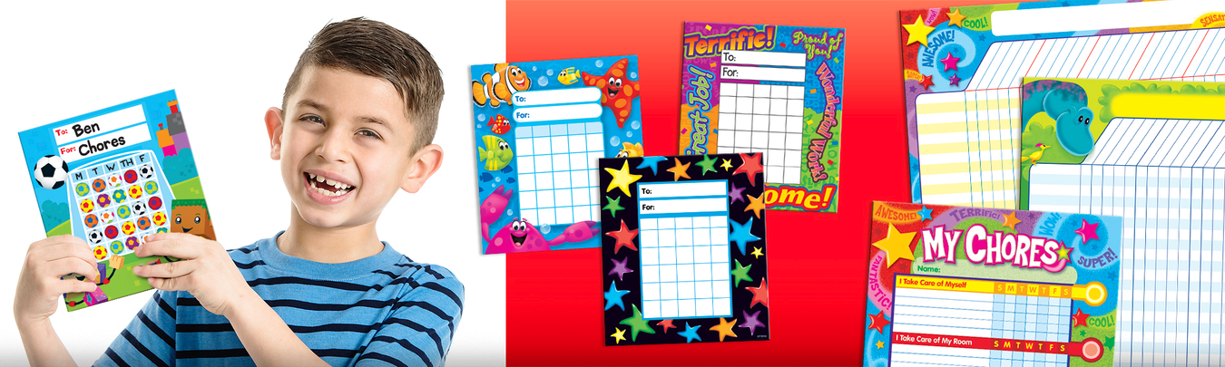 Incentive charts and pads to fill with stickers for kids