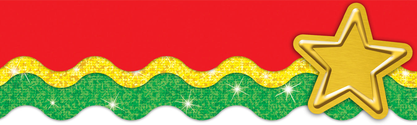 Christmas holiday classroom decorations. Red and green bulletin board paper cut outs.