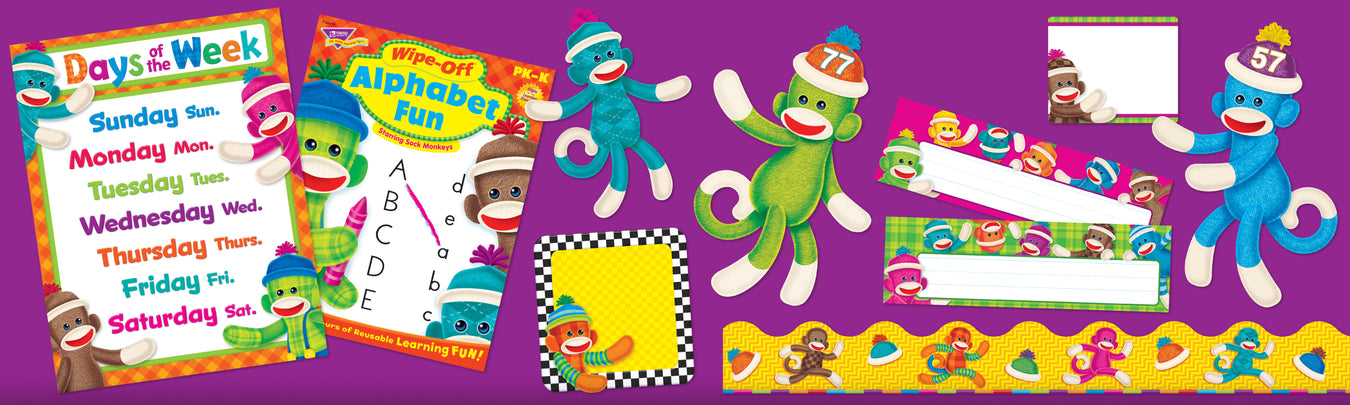Sock monkey classroom theme bulletin board decorations