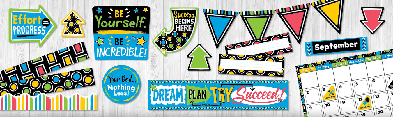 Bold color classroom theme bulletin board decorations
