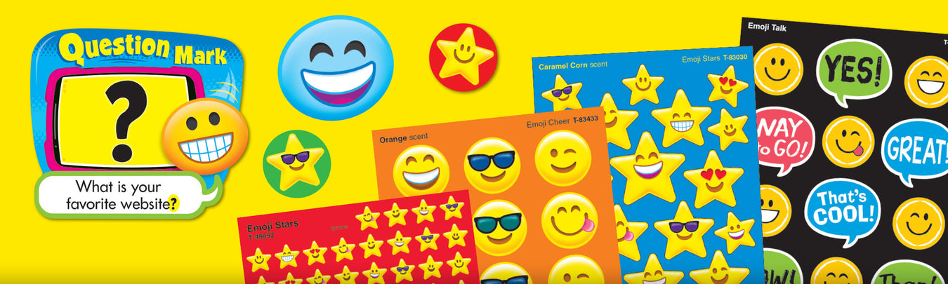 Emoji theme classroom bulletin board decorations and stickers